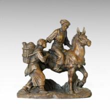 Eastern Statue Village Life Market Bronze Sculpture Tple-030