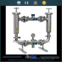 Filtre de tuyaux duplex industriel en acier inoxydable