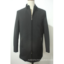 Men′s Winter Long Overcoat Trench Coat Funnel Neck Coat Zipper Jacket