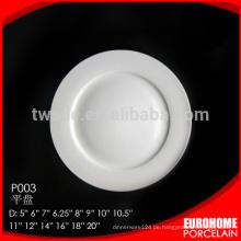 Billig benutzerdefinierte weiß Runde Hotel Restaurants Platten, Porzellan-Restaurants-Platte
