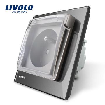 Livolo Prise de courant nouvelle norme française avec le couvercle étanche VL-C7-C1FRWF-15