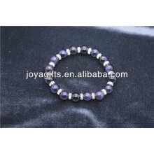 Handmade pedra natural ouro azul com diamante pulseira de liga