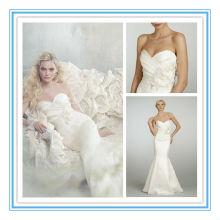 Moda Strapless vaina satinado Appliqued vestido de boda botón en línea (WDJL-1003)