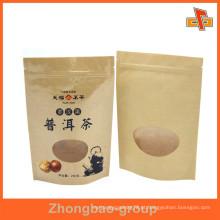 Personalize o papel kraft reselável à prova de umidade stand up saco zíper com janela e impressão para café, lanche, frutas secas