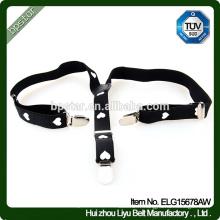 Pantalons de ceinture de ceinture Pantalons en bretelles en forme de coeur noir