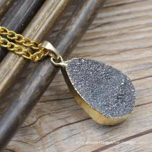 Natural agate stone multicolor druzy stones pendant wholesale to make necklace
