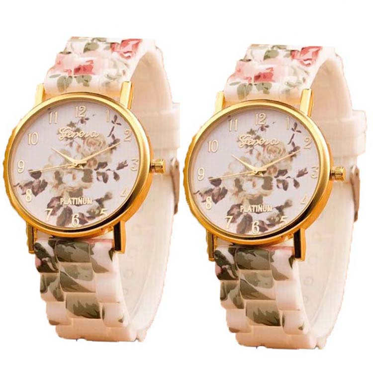 New Designer School Girls Flower Silicone Watches