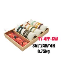 Caja blanca de oro de la exhibición del reloj de la pulsera de la PU del cuero del Faux (TY-4FP-GW)