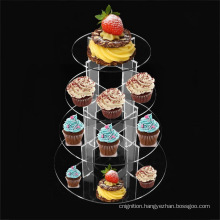 3/4 Tier Party Wedding Cup Cake Display Holder Round Circle Clear Acrylic Cupcake Stand