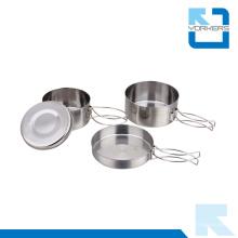 Ensemble de cuisinier de plats en pot en acier inoxydable pour pique-nique