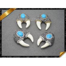 Акулий Зуб Белый каменный кулон, бирюза Кабошон подвеска ювелирные изделия бусины (EF095)