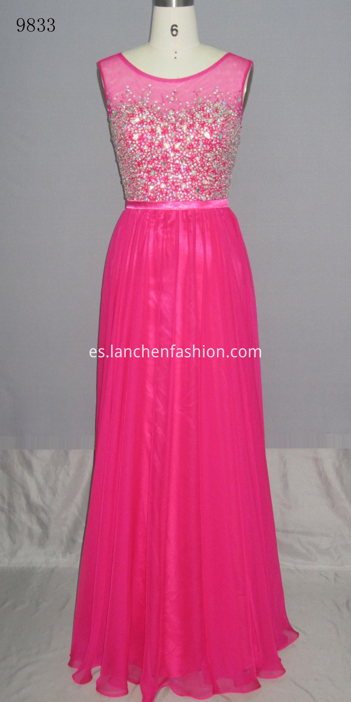 Lace Sleeveless Dress FUSHIA