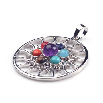 Whoelsale Round Chakra Reiki Crystal Yoga Balancing Charm Jewelry Pendant