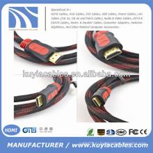 Позолоченные 1.3 / 1.4v Kabel HDMI с нейлоном Полная медь 1.5m, 1.8m, 3m, 5m, 10m, 20m, 50m ..