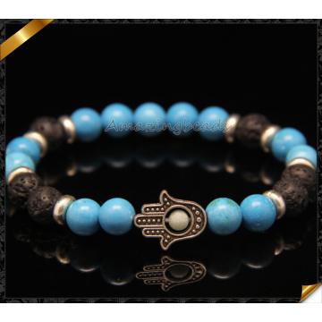 Handmade Hamsa Hand Bracelet Jewelry with Turquoise Bead (CB0108)