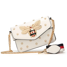 Best selling 2021 Popular Woman beautiful Chain Pearls hand bag Leather Sling Shoulder Bags For Ladies