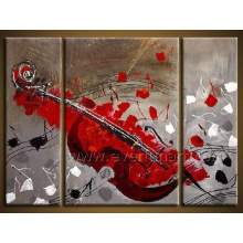 Pintura al óleo hecha a mano moderna del instrumento musical para la decoración