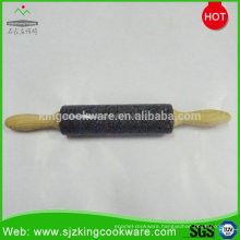 Natural granite stone rolling pin with wood handles