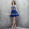 2017 azul royal mini design 2 pcs set vestido de noite backless heavey beading tradicional vestido de dama de honra