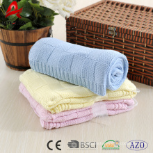 100% cotton reversible knitted soft baby blanket