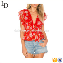 2017 Red chiffon custom women t shirt full sublimation flower print