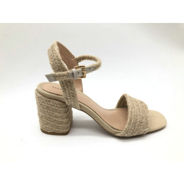 Damen Jute Upper Fashion Chunky Heel Sandale