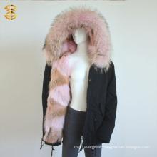Pink Genuine Raccoon Women Winter Parka Fox Fur Jacket