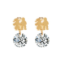 Jewelry  Zirconia Gold Plated  Drop Round Earrings