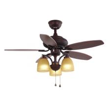 Ventilador de techo decorativo marrón con luz