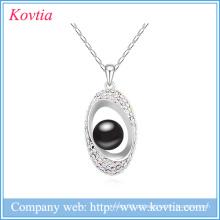 Meninas camisola colar de design preto pérola de sementes talão colar de jóias de ouro branco