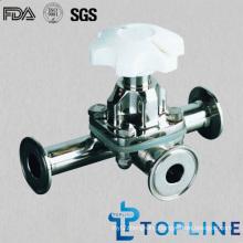 Sanitary Stainless Steel Three Way Diaphragm Valve