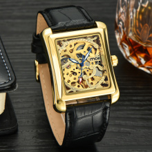 Luxury skeleton automatic mechanical mens watch