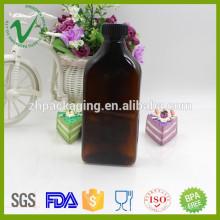 300 мл изготовленные на заказ ПЭТ фармацевтические янтарные пластиковые бутылки с пробкой
