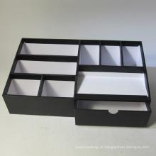 Multifuncional papel preto organizador de mesa com gaveta