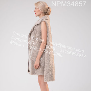 Bahasa Iceland Lamb Fur Gilet For Lady