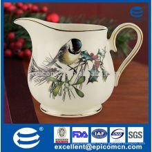 Новый костяной молочный кувшин фарфора, сделанный в Китае с позолоченной оправой и красивой краской для покраски птиц