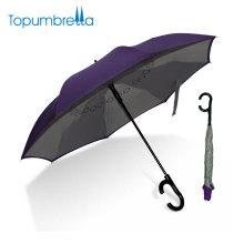 Produits chinois de qualité Nouvelle conception étiquette privée double couche C poignée parapluie inversé