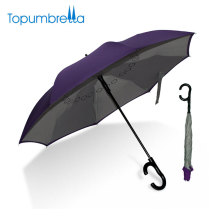 Quality Chinese Products New Design Private Label Double Layer C Handle Inverted Umbrella