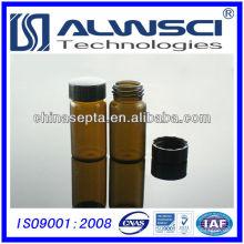 20ML Frasco de armazenamento de vidro âmbar com tampão PP preto fechado Frasco para extrusão automática HPLC / GC 27.5x57mm