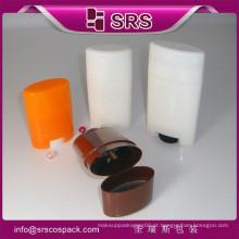 SRS amostra livre 15g 50g 75g vazio oval vara desodorante garrafa recipiente para venda, PP gel branco desodorante stick embalagem
