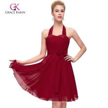 Grace Karin Halter Design Short Chiffon Cheap Dark Red Bridesmaid Dress CL2290-3