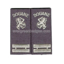 Silver Metallic Text Embroidered Epaulette