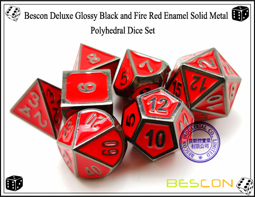 Bescon Deluxe Glossy Black and Fire Red Enamel Solid Metal Polyhedral Role Playing RPG Game Dice Set (7 Die in Pack)-6