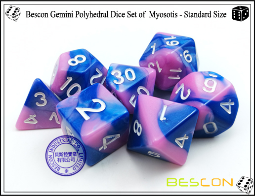 Bescon Gemini Dice Set of Myosotis-4