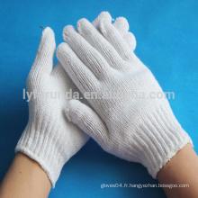 Gants de travail tricotés en coton blanc naturel calibre 7 -500 grammes