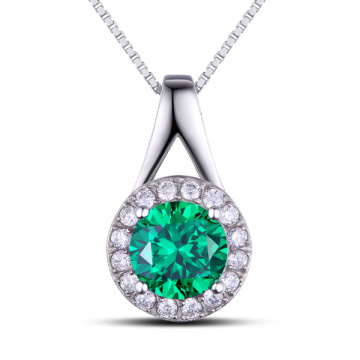 Fashion Jewelry Findings Gemstone Green Color Silver Pendant