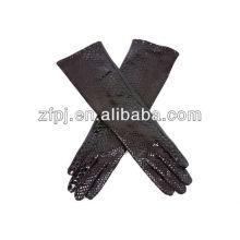 Líneas largas de la manera guantes de cuero de las ovejas de la tapa del codo del estilo con las líneas de la serpiente