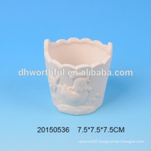 DIY ceramic flower pot with cock figurine