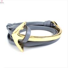 Leather bracelet stainless steel Custom Box Plastic Chain Anchor Leather Bracelet Clasp