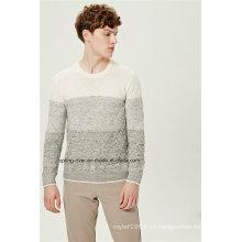 Contraste de color patrón de punto hombres suéter